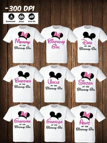 d127370bb Disney Family Mickey Minnie mouse Set of 9 iron on transfers Mickey Minnie  Mouse Matching Family
