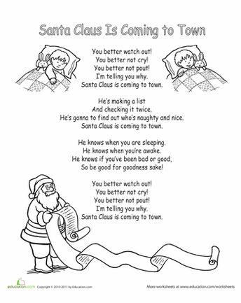 "Worksheets: ""Santa Claus is Coming to Town"" Lyrics"