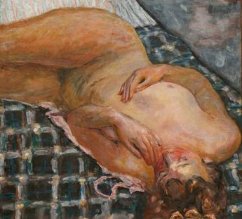 Pierre Bonnard, Nu couché, fond de carreaux blancs et bleus (c. 1909)