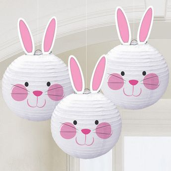 $17.1 AUD - Easter Bunny Shaped Paper Lantern Hanging Decorations X 3 #ebay #Home & Garden