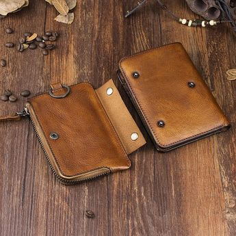 Handmade Leather Mens Chain Biker Wallet Cool Leather Wallet Trifold Short  Wallets 87e5f4179dd