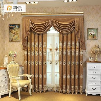 DIHIN HOME Circular Pattern Embroidered Brown Valance,Blackout Curtains Grommet Window Curtain for Living Room ,52x84-inch,1 Panel