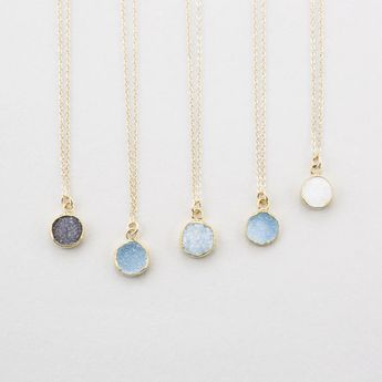 Tiny Round Druzy Pendant Necklace - Gold Edged Crystals, Genuine Gemstone on 14k Gold fill or Sterling Silver Chain - LN723