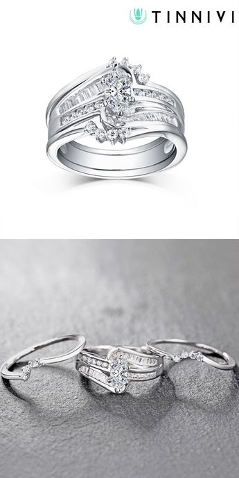 37d3c1fb6dc272 Tinnivi Vintage Style Sterling Silver Marquise Cut Created White Sapphire  3PC Wedding Ring Set