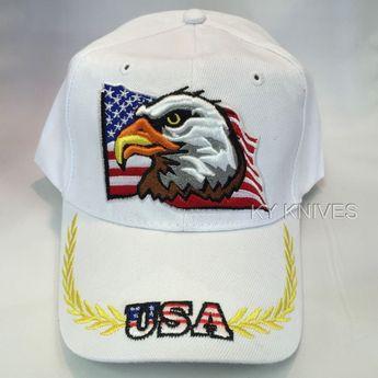 USA AMERICAN FLAG EAGLE PATRIOTIC EMBROIDERED BASEBALL CAP HAT HT-57 WHITE  M  fashion ed049a5488de