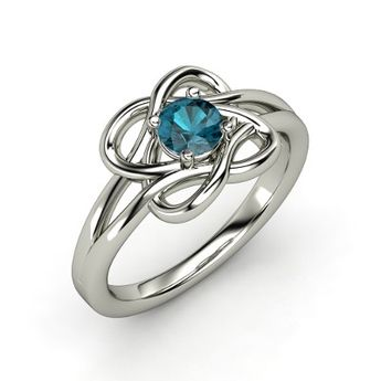 Knotted Vines Ring - Round London Blue Topaz Sterling Silver Ring