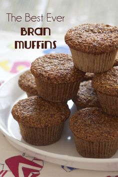 Bran muffins. I love a soft bran muffin brimming with golden raisins, shredded carrots, apples, and sweetened with honey. Those ingredients aren't all in this recipe, but it's a good start.