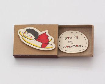 """Awesome BF Card/ Funny Superman Anniversaire carte / Cadeau anniversaire unique / Love Card / """"Vous êtes mon superman"""" Matchbox / Boîte à messages / LV039"""