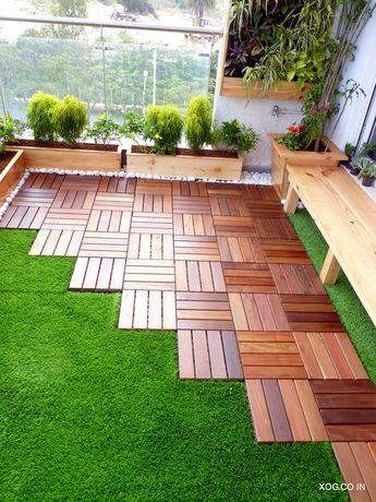 Brazilian IPE hard-wood deck with artificial grass flooring by Xanadu Organic Gardens