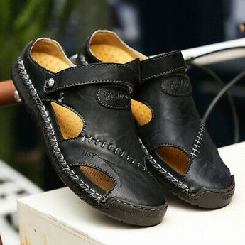 Men's Summer Leather Summer Hand Stitching Closed Toe Sandals Hiking Shoes  #fashion #clothing #shoes #accessories #mensshoes #sandals (ebay link)