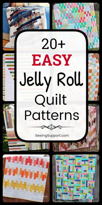 Quilt Patterns for Jelly Roll Quilts. 30+ free and easy jelly roll quilt patterns, tutorials, and diy sewing projects easy enough for a beginner to sew. Designs include easy strip, square, and race quilts. #SewingSupport #Jelly #Roll #Pattern #Quilt #Quilting #Easy #Free