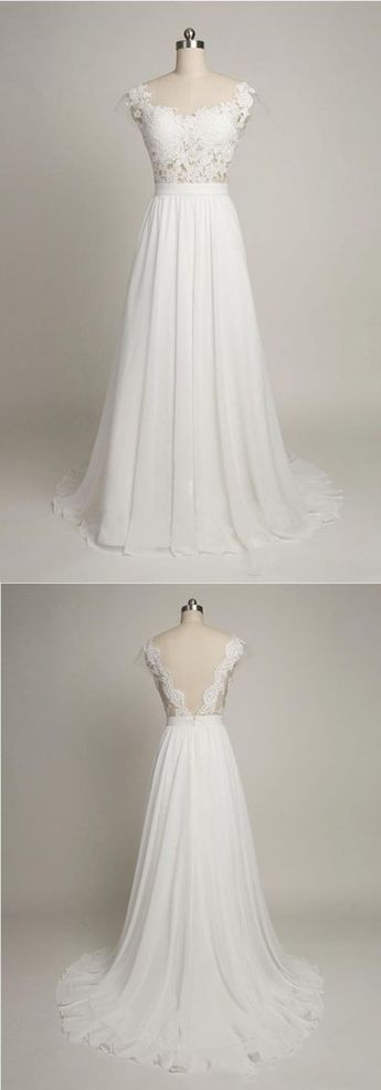 A-Line Boat Neck Cap Sleeves Sweep Train White Chiffon Wedding Dress with Lace
