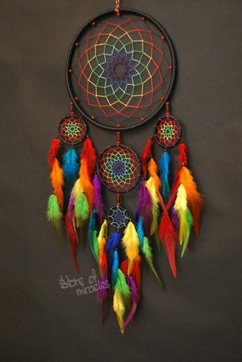 Capteur de rêves Dreamcatcher mascottes américain amulette protectrice noir couleur arc en ciel Boho style Native American Home Decor