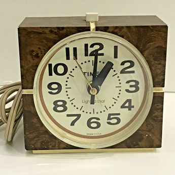 Vintage Timex Electric Alarm Clock Lighted Brown Cube  #Timex