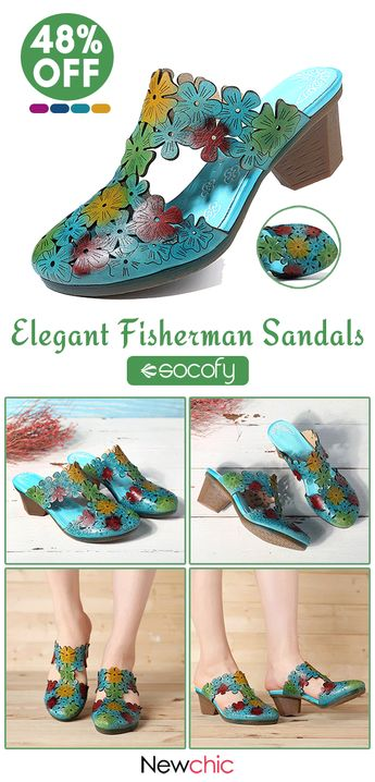 SOCOFY Hand Painted Flowers Pattern Genuine Leather Splicing Comfortable Slip On Sandals.