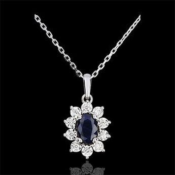 Collier Eternel Edelweiss - Marguerite Illusion - saphir et diamants - or blanc 18 carats