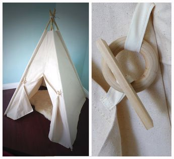 Canvas Teepee Tent with 6 ft Bamboo poles INCLUDED Natural Handmade toy Kids play tent Pet tent
