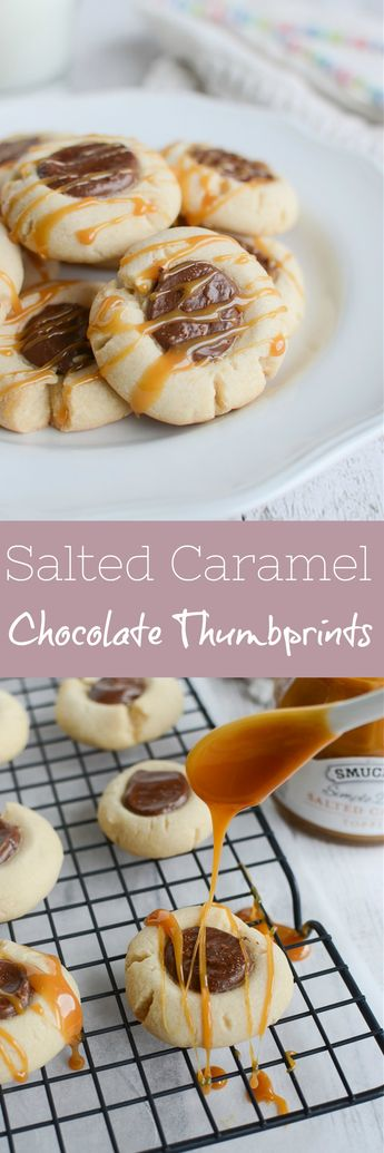 Salted Caramel Chocolate Thumbprints - shortbread cookies filled with Nutella and drizzled with caramel! Perfect for Christmas cookie tins!