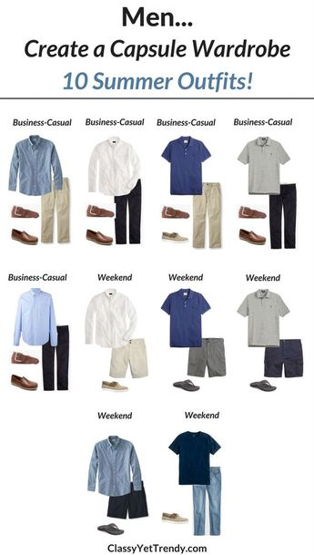 Create a Men's capsule wardrobe for the Summer…Transform Your Closet!  I'm sharinga few featured itemsin the capsule wardrobe and shows how you can mix and match those items to create several outfits! Features a white oxford shirt, chambray shirt, polo shirt, chinos, twill shorts, jeans, cargo shorts, khaki pants, boat shoes and loafers.