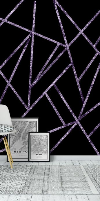 Classic Violet Glitter Geo 1 Wall Mural / Wallpaper Abstract