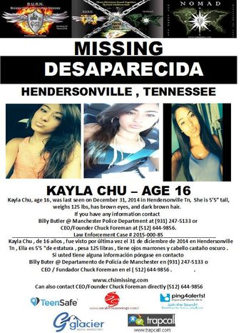 12/31/2014: Kayla Chu, age 16, is #missing from Hendersonville, Tennessee.