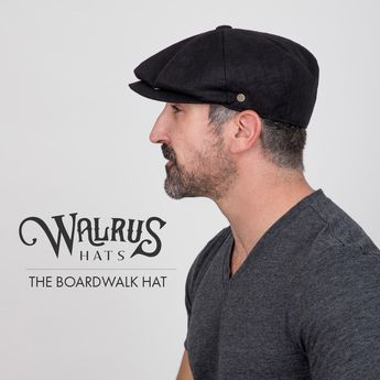 3c88c71f41935 Boardwalk - Walrus Hats Black Linen Cotton Blend 8 Panel Newsboy Cap