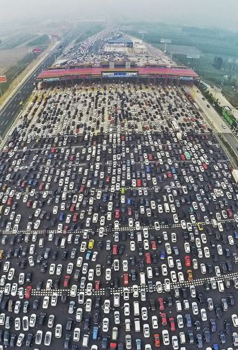 How was your commute today? Bit of traffic? Spare a thought for these Chinese motorists stuck in 50 lanes of traffic.