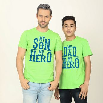 Hero s In Green Matching Dad And Son Tshirt - BonOrganik  familytees  daddy   son 8264c6fccf6d