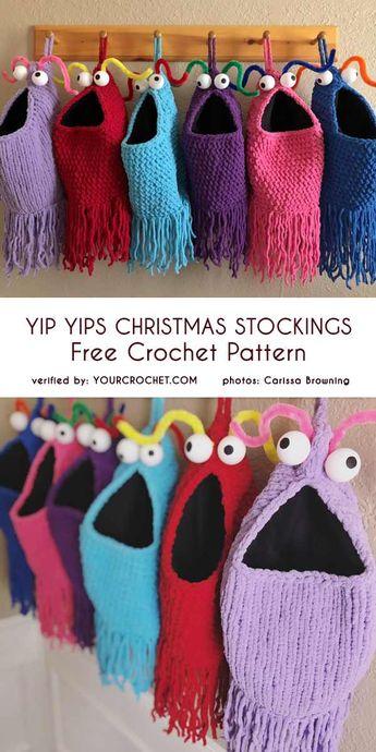 Yip Yips Christmas Stockings Free Crochet Pattern