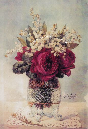 This wonderful image is taken from a painting in our personal collection. It is a grand study of cabbage roses and lily of the valley in a