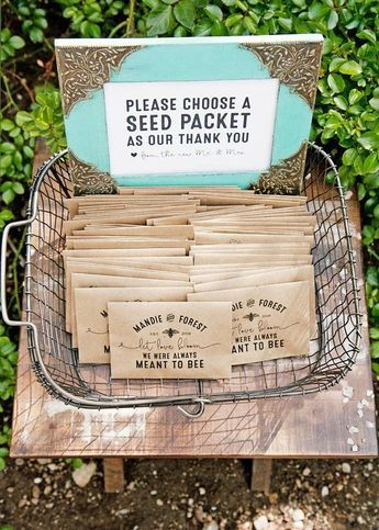 Wildflower Seed Wedding Favor Packets - Personalized - Let Love Bloom, Bee Design, Meant to Bee - Kraft Plantable Gift - 30 Packets or more