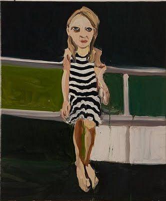 """Chantal Joffe - """"Moll in a Striped Dress"""""""