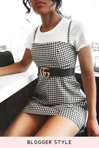Black White Gingham Slim Casual Dress