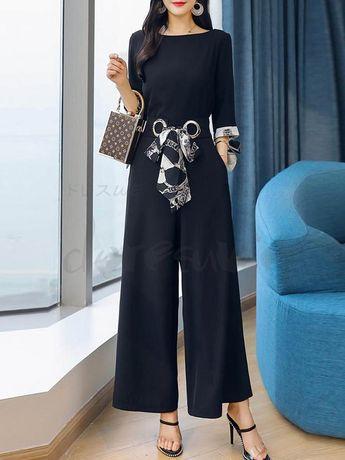 0f926451f33eb ファッション通販 #Fashion Doresuwe配色TシャツOL通勤切り替えレディースファッションワイドレッグ