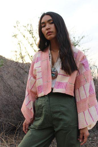 Upcycled VIntage Aso-Oke Cloth Crop Jacket- OS — Orenda Tribe