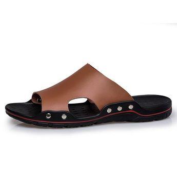 Men's Solid Flat Summer Beach Indoor & Outdoor Sandal/Flip-Flop