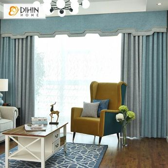 DIHIN HOME Simple Grey and Blue Printed,Blackout Curtains Grommet Window Curtain for Living Room ,52x84-inch,1 Panel