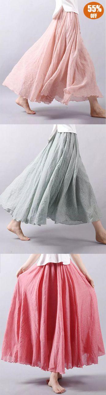 428f1375d2428 Cotton Elastic Waist Big Swing Hem Long Maxi Skirts