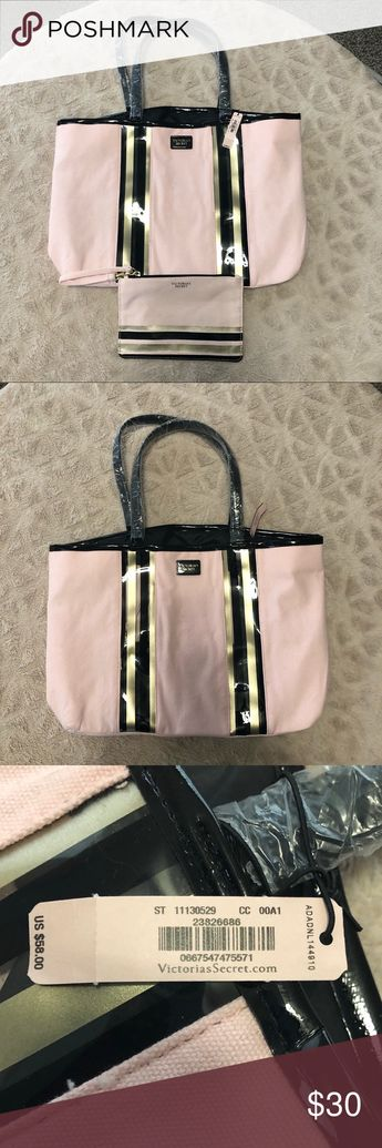 """NWT Victoria's Secret Light Pink Tote & Makeup Bag New with tags! Light pink canvas with clear/black/gold vertical stripes of vinyl. Tote measures 15"""" x 11"""" x 5"""" and the makeup bag measures 8"""" x 5.5"""". Victoria's Secret Bags Totes"""