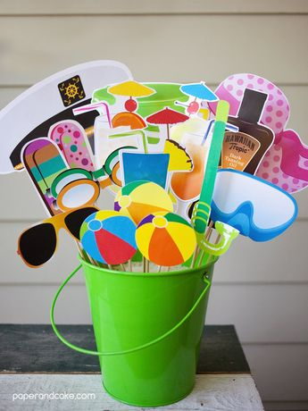 Beach Party Printable PHOTO BOOTH PROPS cocktails, suntan lotion, snorkel, dive mask - Editable Text >> Instant Download | Paper and Cake