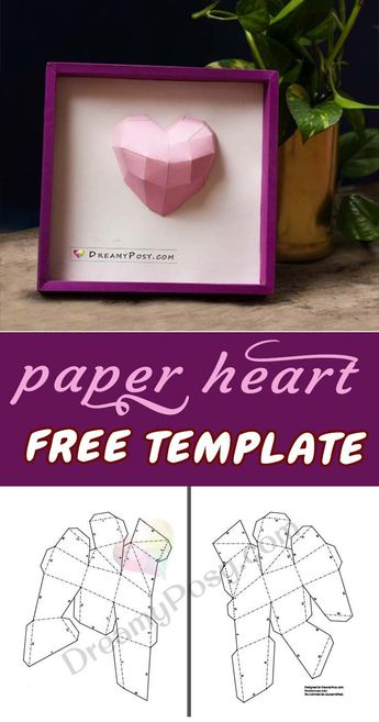 How to make paper 3D heart frame, FREE template and tutorial
