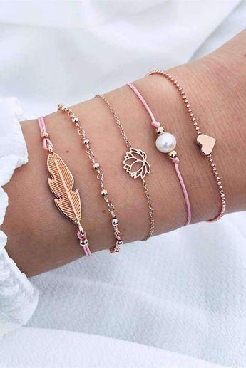 Chic Leaf Heart Pearl Bracelets Set