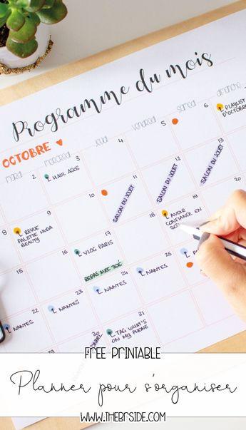 Planners à imprimer pour s'organiser au quotidien - gratuit