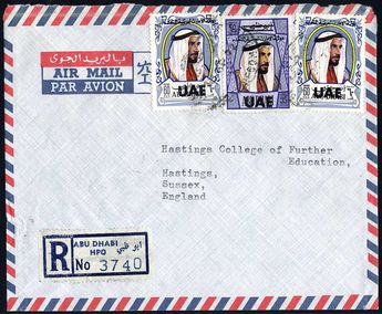 Abu Dhabi 1972 Sept. 18. Registered airmail cover to Hastings, UK franked on front with UAE overprint 35f and 2x 60f all tied by ABU DHABI RECOMMANDE. At the bottom Abu Dhabi HPO registered label.    Dealer  Philagenta    Online Auction  0 bid(s)    Startprice:  250.00 EUR  Auction ends at 15.12.2012!