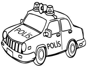 Polis Araba Boyama Sayfasy Resim Cizmek
