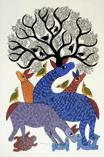 Hiran  by  Subash Vyam, Gond art of India