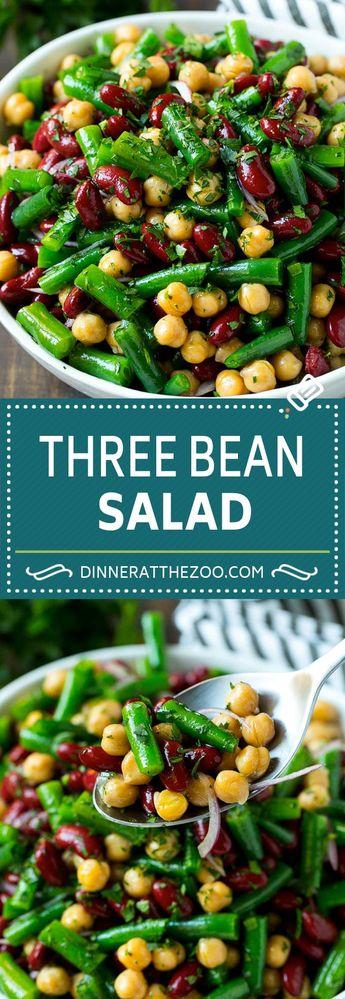 Three Bean Salad Recipe   Bean Salad   Green Bean Salad   Chickpea Salad #salad #beans #vegetables #vegetarian #glutenfree #dinneratthezoo