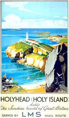 1920's LMS Holyhead North Wales Railway Poster A3 / A2 Reprint