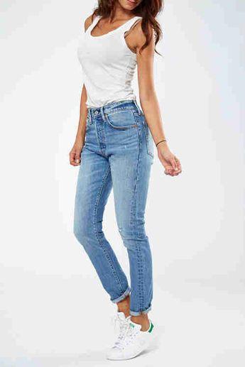 Jeans Levi's 501 Skinny Fit Bleu Used Destroy Femme