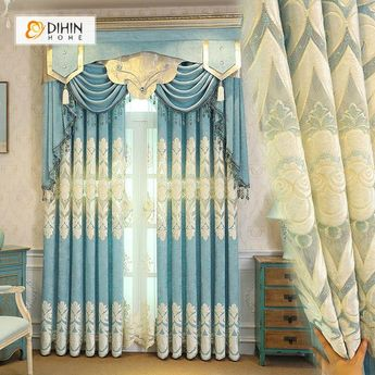 DIHIN HOME White Embroidered Light Blue Background and Valance ,Blackout Curtains Grommet Window Curtain for Living Room ,52x84-inch,1 Panel